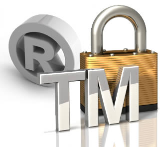 3d render of trade mark sign with padlock for Gaming Applications.